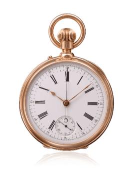 1877 cronógrafo con pulsador desde la corona y segundero a las 6 horas.