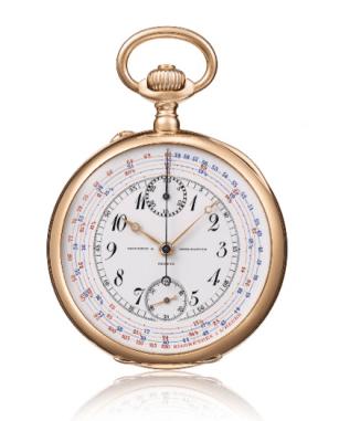 1905: cronógrafo cronómetro con contador libre de minutos y segundero.
