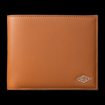 Pequeña marroquinería Louis Cartier Cartera para 6 tarjetas de crédito Piel de becerro color caramelo, acabado paladio.