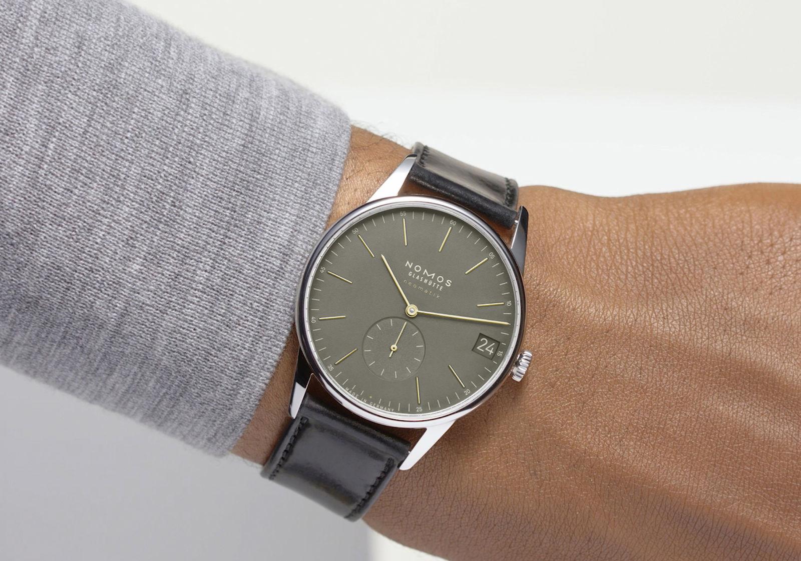 Nomos Orion Neomatik Olive Gold wrist