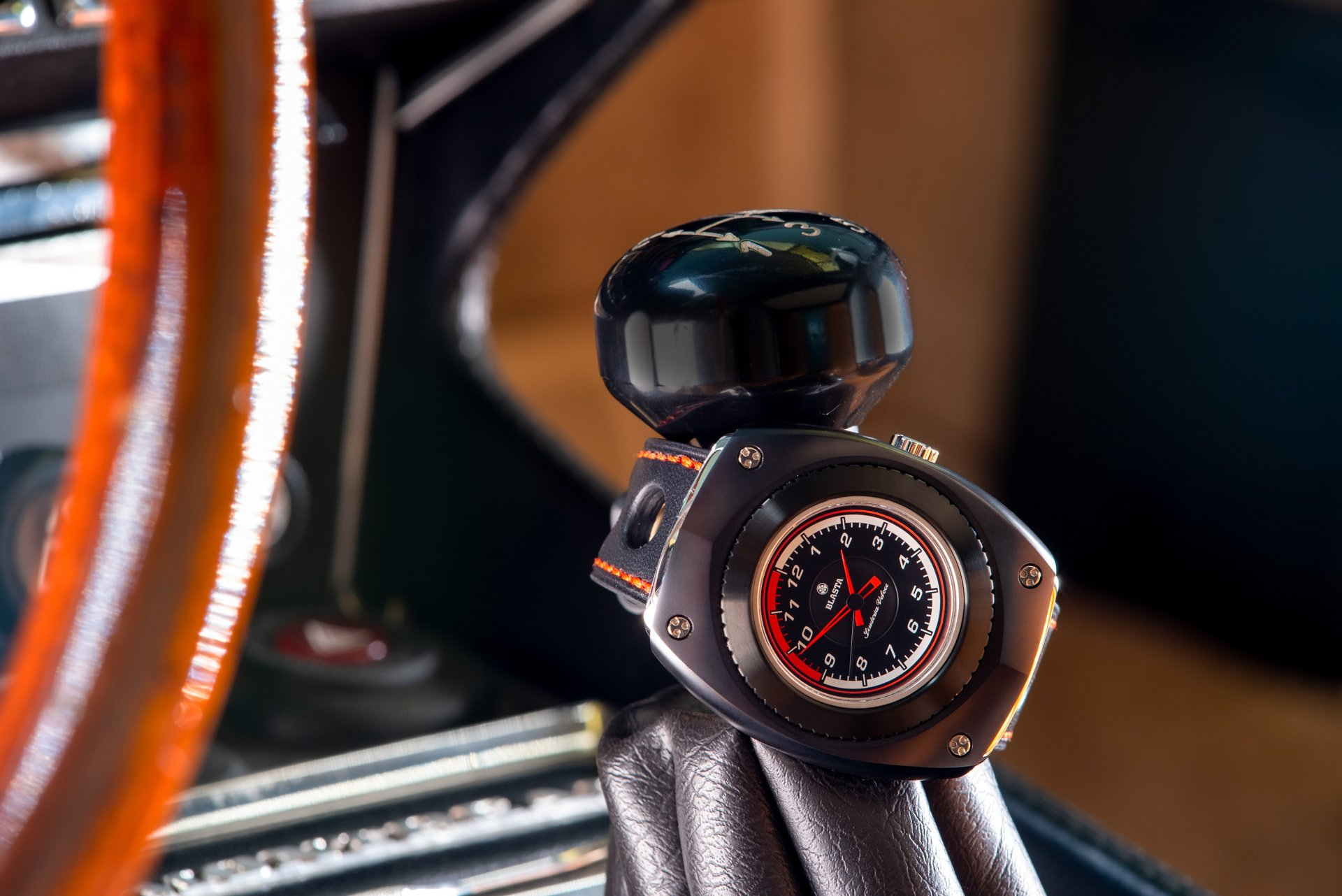 Blasta Watch Scuderia Veloce, nero profondo Photo taken on the gar lever of a Alfa Romeo Montreal.