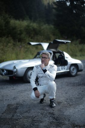 """AROSA, SWITZERLAND – 01. September 2019: The IWC Racing Team showed up on the grid of the 15th Arosa Classic Car for the second time. Bernd Schneider drove the Mercedes-Benz 300 SL """"Gullwing"""" on the winding 7.3 kilometre hill-climb route from Langwies to Arosa. (Photo by Ted Gushue for IWC)"""