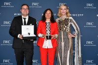 """Filmmaker award winners Reto Schaerli and Bettina Oberli, and Australian actor and IWC brand ambassador Cate Blanchett attend the IWC Private Dinner held at Haute on October 05, 2019 in Zurich, Switzerland. During the event, Australian actor and IWC brand ambassador Cate Blanchett presented the 5th Filmmaker Award. The film """"Wanda, my miracle"""", directed by Bettina Oberli and produced by Lukas Hobi and Reto Schaerli, was declared the winner by the jury. The award, which is worth CHF 100,000, supports outstanding Swiss film projects that are in the production or post-production stage. (Photo by Harold Cunningham/Getty Images for IWC)"""