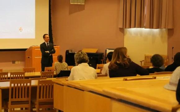 George MacLean speaks in Alumni Hall. (Photo: Michelle Pressé)
