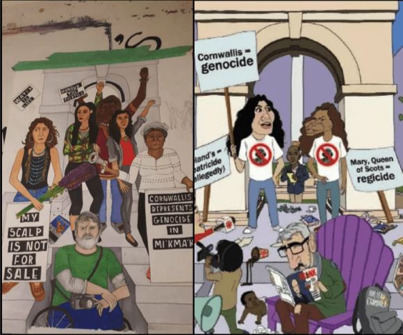 Left: An alternate to the Frank Magazine image, drawn by Bria Cherise Miller (courtesy Bria Cherise Miller, Facebook). Right: The original Frank Magazine image.