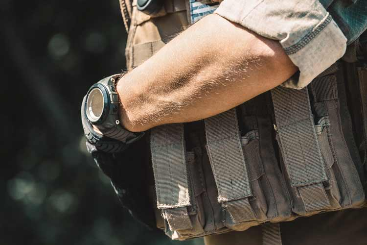 military soldier wearing g shock watch