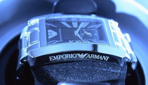 armani watch on display
