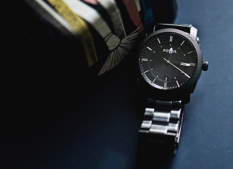 closeup of fossil mens watch
