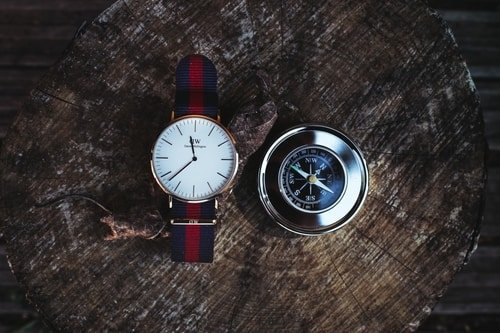 watch and compass side by side