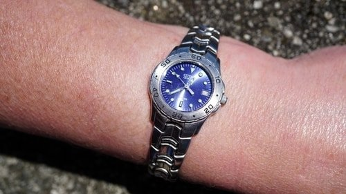 woman blue watch