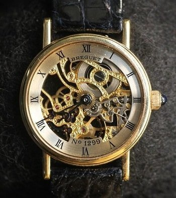 close up of skeleton watch