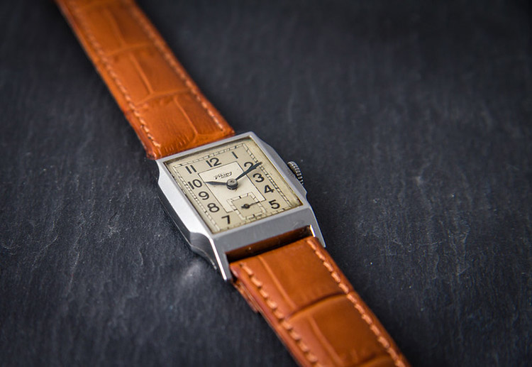 Brown leather art deco watch