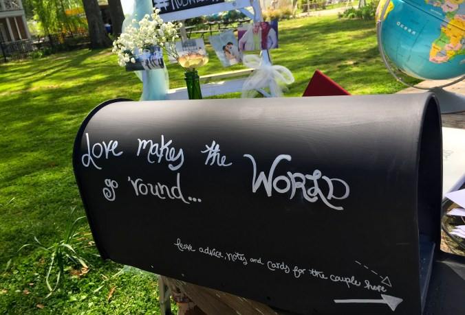 We found this old mailbox at Goodwill. I painted it with chalkboard paint and used it to collect love notes for the couple and cards.
