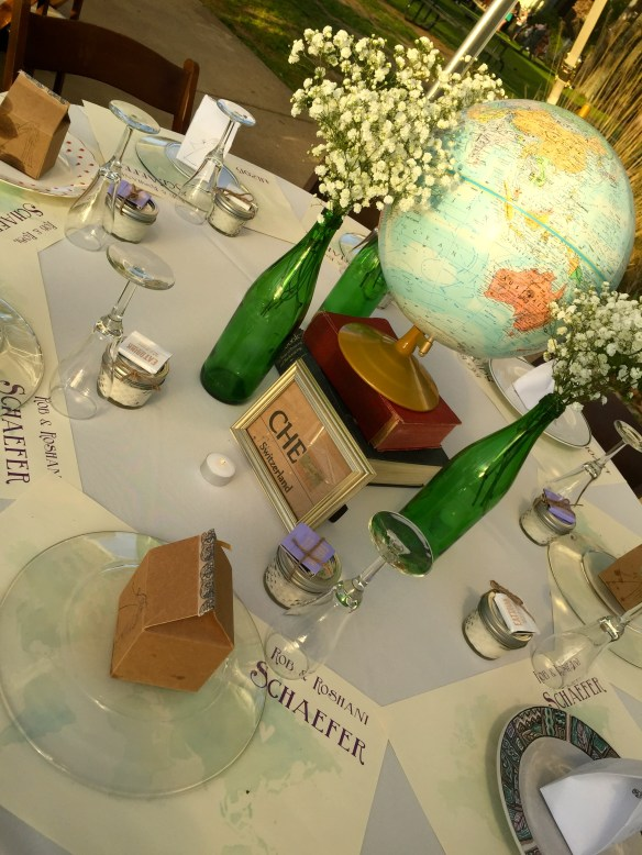 Each table had its own country code which guests had to match with their own personal tags they received upon sign in to find their tables. The countries were all places the couple has visited.