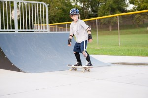 Boy on a skate board in a skate park