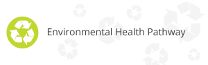 Green circle with white recycling icon inside & Environmental Health Pathway text in black