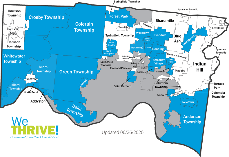 map of Hamilton County with we thrive communities colored in blue