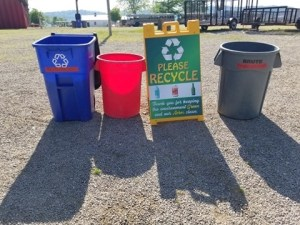recycling sign and containers