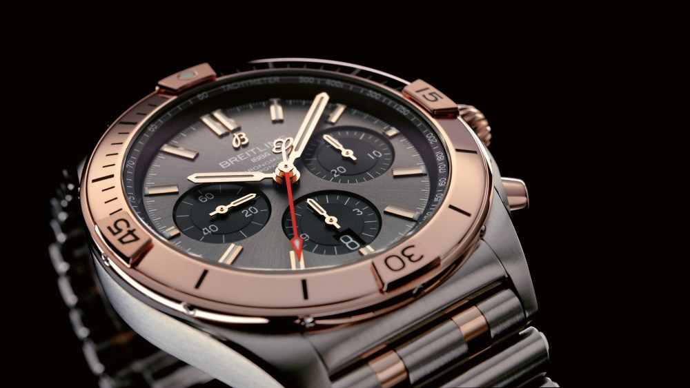 18 Two Tone Chronomat B01 42 With An Anthracite Dial And Black Subdials Highlighted By An 18 K Red Gold Bezel Crown And Pushers Ub0134101b1u1 1024x576