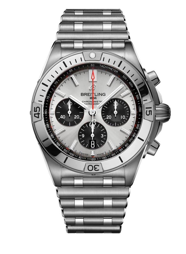 21 Chronomat B01 42 With A Silver Dial And Black Contrasting Chronograph Counters Ref Ab0134101g1a1 751x1024