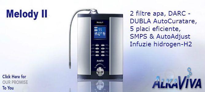 purificator(2 filtre)-aparat apa hidrogenata / ionizator apa Melody II H2 AlkaViva-2 filtre apa, autocuratare electrozi DUBLA DARC 2, 5 electrozi Smart Design, SMPS & AutoAdjust, Infuzie apa Hidrogen H2