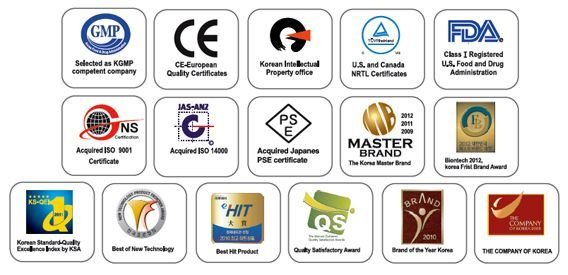 Certifications de l'ioniseur et du purificateur d'eau AlkaViva Vesta H2