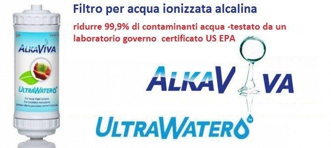 Filtro per acqua ionizzata alcalina AlkaViva UltraWater -ridurre 99,9% di contaminanti acqua