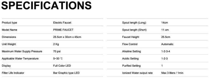 prime R undersink water ionizer & purifier faucet specs
