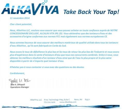 AlkaViva CONCESSIONAIRE EXCLUSIF
