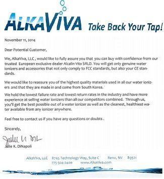 AlkaViva Trusted Offical Exclusive Dealer Reccomendation letter mobile