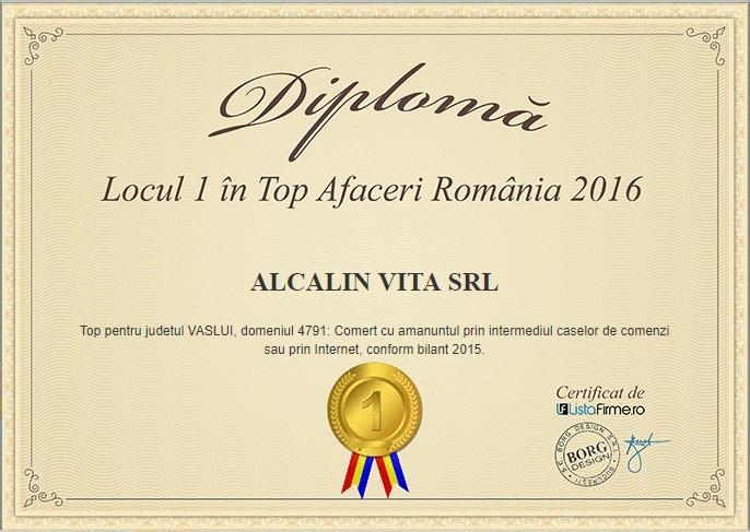 locul 1 top Afaceri Romania 2016 Alcalin Vita SRL