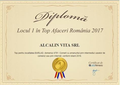 locul 1 top Afaceri Romania 2017 Alcalin Vita SRL