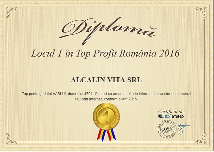 locul 1 top profit Romania 2016 Alcalin Vita SRL