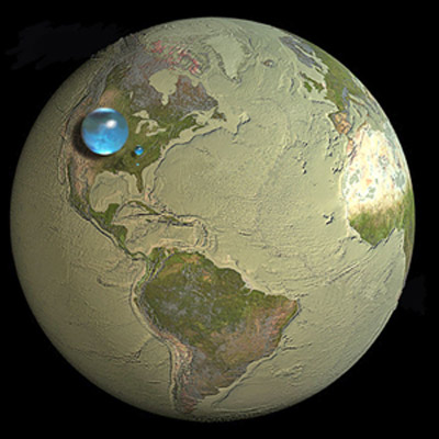 Fresh groundwater and surface-water make up the bubble over Kentucky, which is about 252 miles in diameter. The sphere over Georgia reresents fresh-water lakes and rivers (about 34.9 miles in diameter).