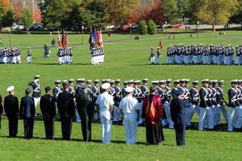 President Sands reviewed the Corps of Cadets on the drill field