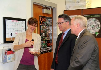 Dr. Sands toured several labs in Latham Hall; here he is with Cathy Jachowski and VIce Provost Jack Finney in the Hopkins Lab