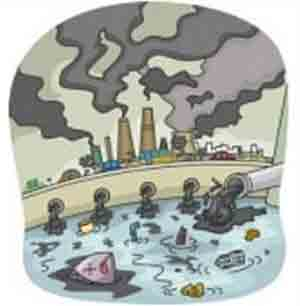Industrial pollution of water