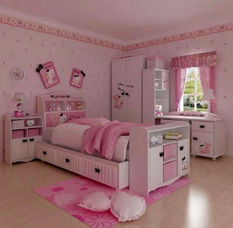 kamar tidur anak perempuan dengan tema hello kitty 1