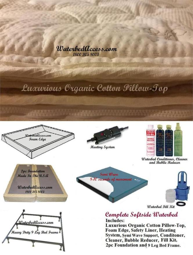 Queen Softside Waterbed With Cotton Pillowtop And Semi Wave Mattress For