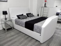 Enfield TV Waterbed in White Fabric