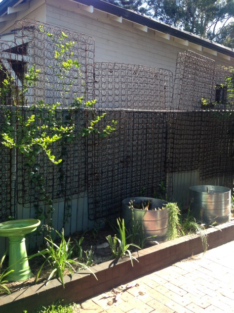 Great recycling with a vertical garden made mattress springs