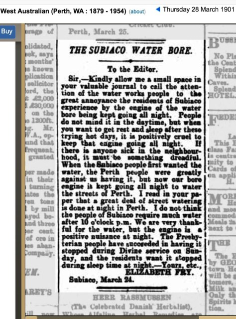 History of water bores in Subiaco area