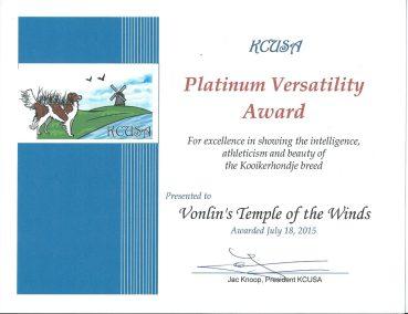 Kooikerhondje Lucy Platinum Versatility Award