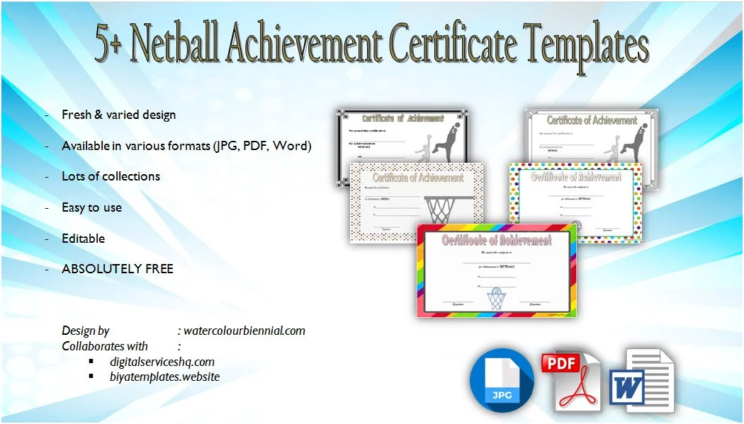 Netball Participation Certificate Templates 7 CUSTOMIZABLE FORMAT