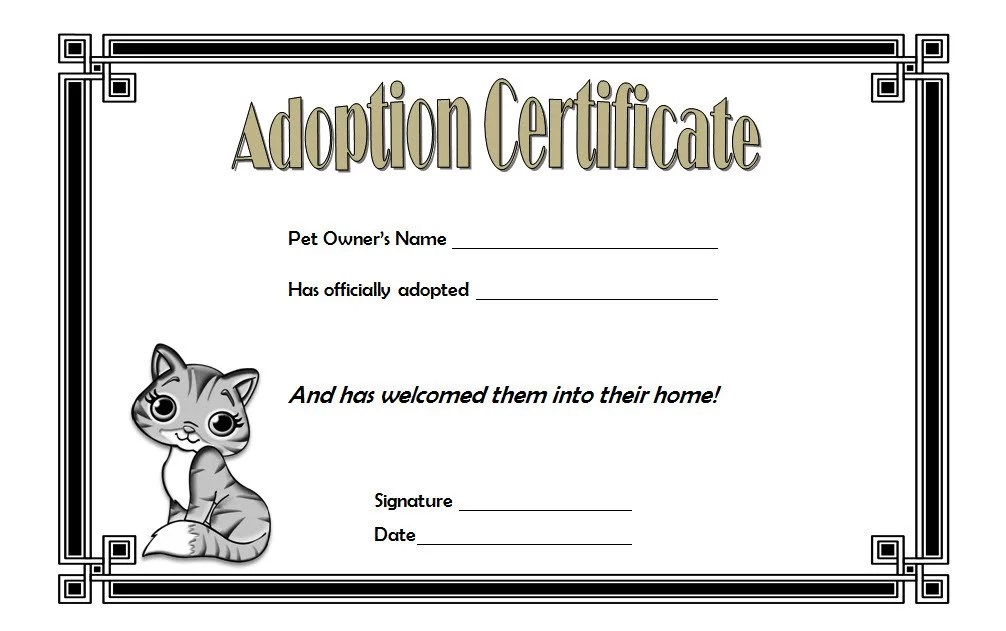 Cat Adoption Certificate Templates Free [9+ Update Designs