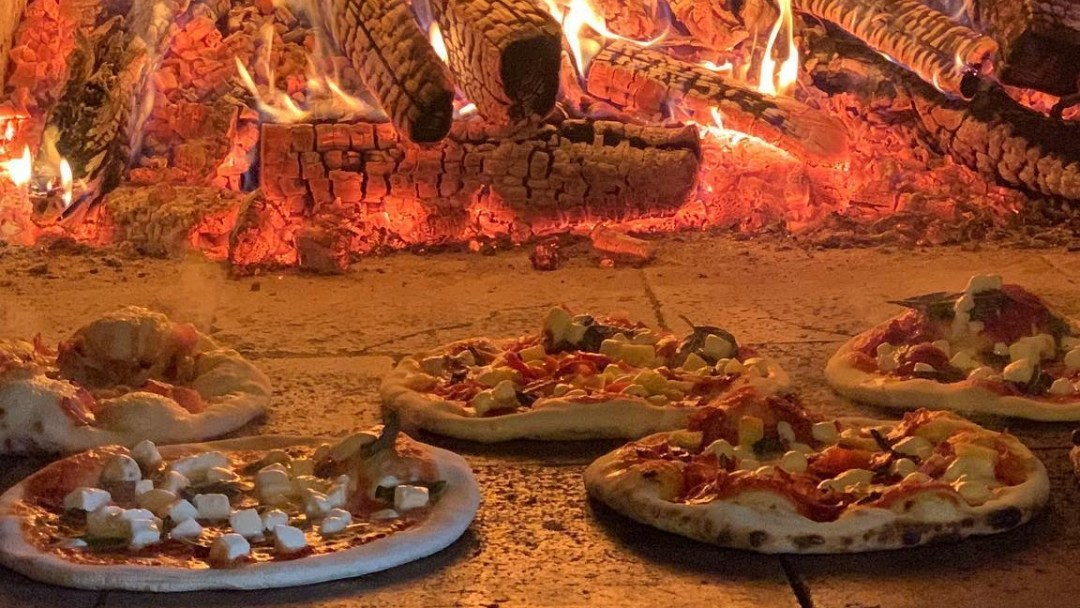Some wood oven pizzas at the Scheuermann Winery in Westport, Ontario.