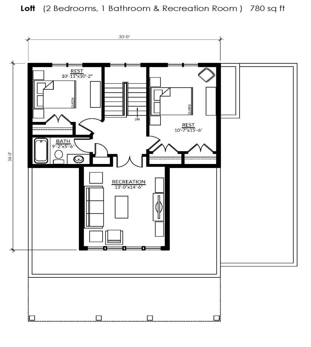 The loft floorplan of the Rideau with a loft at Watercolour Westport.