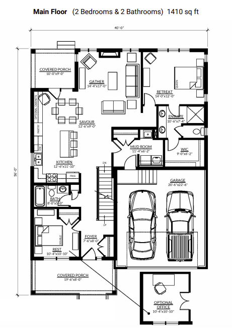The main floorplan of the Sydenham bungalow with a loft at Watercolour Westport.
