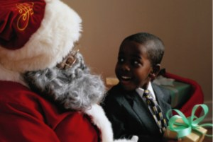 Black Santa and Boy