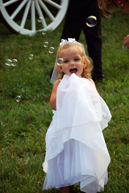 Flower Girl Photo at Waterfall Wedding